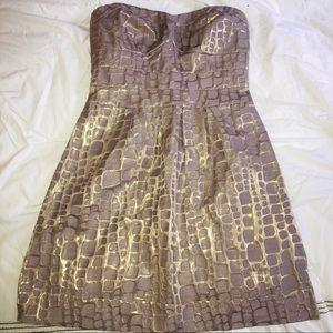 American Eagle Strapless Lavender & Gold Dress